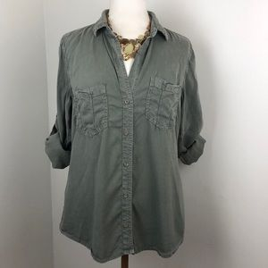 Cloth & Stone Army Green Shirt Large